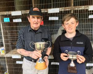 Doug Bain (left), of Dunsandel, is keen to encourage young people to get into poultry breeding,...