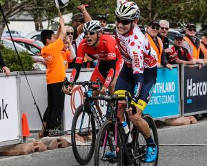 Southlander Matt Zenovich celebrates victory in the opening stage of the Tour of Southland from...