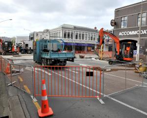 The intersection of Great King and St Andrews streets remains closed by bus hub work yesterday....