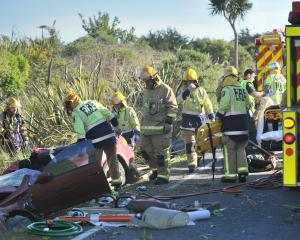 Fire and Emergency NZ staff work to free the driver of a vehicle involved in a high-speed...