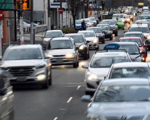 Cars bumper to bumper in Crawford St at 8.30am on Wednesday. Photos: Stephen Jaquiery/Gerard O'Brien