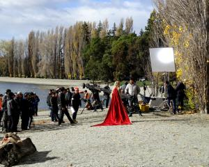 A film crew shoots scenes for the Chinese fantasy drama television series 'Legend of S' on the...