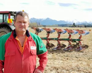 Lake Hawea contractor John Osborne prefers the old-fashioned plough to more modern methods. Photo...