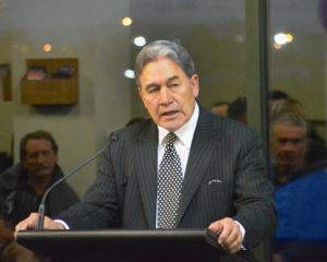 Racing Minister Winston Peters speaks at a public meeting in Invercargill yesterday. Photo: Jonny...