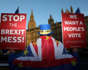 An anti-Brexit demonstrator hold placards opposite the Houses of Parliament, in London. Photo:...