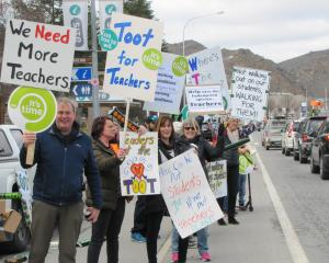 Central Otago teachers strike action outside Pioneer Park, Alexandra. Photo: Pam Jones