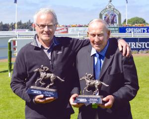 Dave Hay and Barrie Barber receive the New Zealand Thoroughbred Racing Service Award at Riccarton...