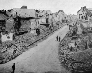 Ruins in the town of Bapaume in France, where a great battle was recently fought, with New...