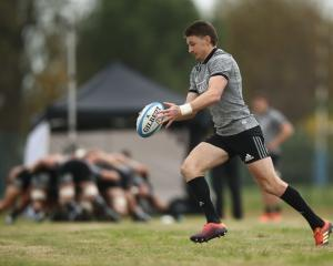 Beauden Barrett kicks the ball at training in Rome this week. Photo: Getty Images