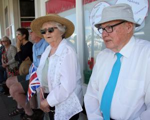 Past pupil of Tapanui District High School Neil Kirk and his wife, Daphne, wait for the West...