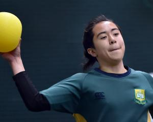 Bayfield High School's Merric Hill (14) plays dodgeball at the metro indoor sports centre on...