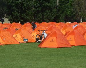 The tent village at Molyneux Park where competitors and helpers spend the night. Photo: Adam Burns