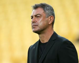Phoenix coach Mark Rudan watches his team in action against the Western Sydney Wanderers at...