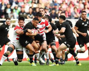 Ngani Laumape on the charge for the All Blacks against Japan in Tokyo earlier this month. Photo:...