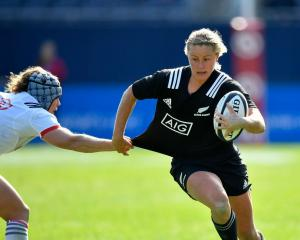 Chelsea Alley runs the ball up for the Black Ferns against the USA at Soldier Field. Photo / Getty