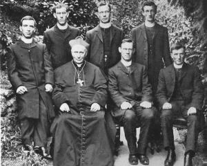 Roman Catholic Bishop of Dunedin Michael Verdon in 1909, with graduates of Holy Cross College in...
