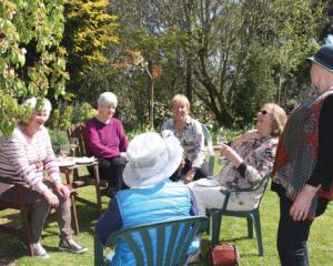 Judy Matthews (third from left) with some of her guests at the recent fundraising garden luncheon...