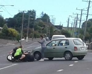 A car and a motorcycle collided in Dunedin this afternoon. Photo: Jack Anderson