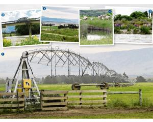 (1) A Lindis Valley pivot irrigator; (2) the Lindis River high and dirty earlier this week (SH6);...