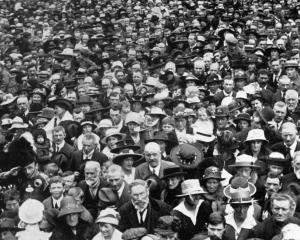 A section of the crowd in the Octagon after the announcement that an armistice had been signed...