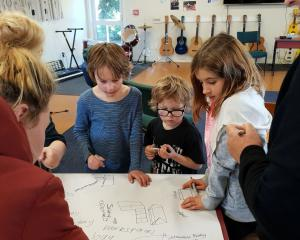 Hawea Flat School teacher Kate Bodger (left), Finn Eyers, Louis Eyers, Briana Joyce and Kathy...