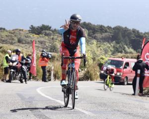 Canadian James Piccoli wins for the second year in a row on Bluff Hill during stage four of the...