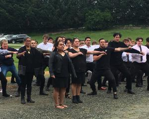Wakatipu High School pupils and friends performing the haka to remember the school's head of...