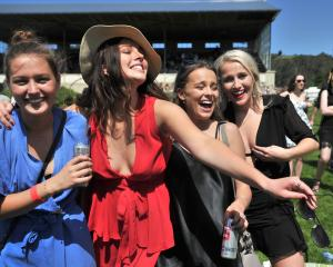 Tess McKean, 21, Bella Berry, 20, Lily Bowman, 20, Claudia Wharfe, 20, at the Wingatui Races....
