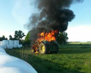 This recent tractor fire in Mid Canterbury, likely caused by birds nesting, completely destroyed...