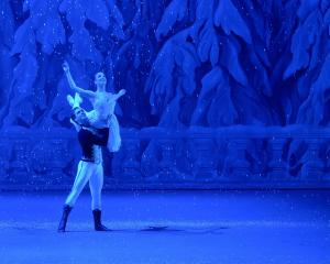 Sean James Kelly and Marie Varlet as Herr Drosselmeier and Marie Stahlbaum in The Nutcracker....