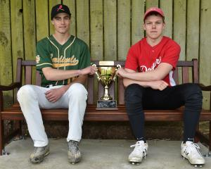 Cardinals captain Mitchell Finnie (left) and Dodgers captain Logan Herbert with the Buddha Cup on...