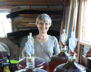 Elisabeth Nicholson displays some of the apple cider made from apples picked from her Mosgiel and...