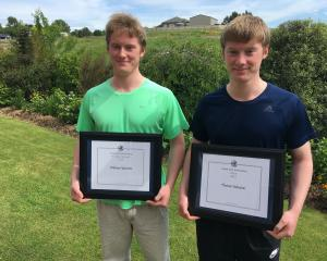 Twins William (left) and Thomas Valentine have made history at Timaru Boys' High by winning the...
