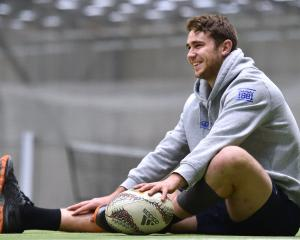 Otago lock Tom Rowe has a rest during an Otago training at the Edgar Centre on Monday. Photo:...