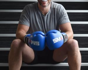 Former All Black Tom Willis takes a break from training at the New Zealand Fight and Fitness...