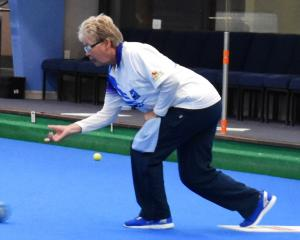 Trish Marr (St Clair) delivers a shot during the Dunedin centre women's fours final at the bowls...