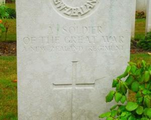The grave of an unidentified New Zealand soldier at Gommecourt British Cemetery No.2, Hebuterne,...