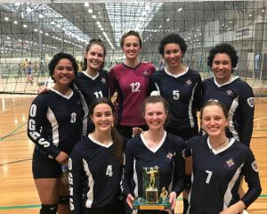 The Otago Girls' High School champion year 13 volleyball team (back from left) Leimanu Hotesi,...
