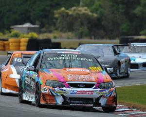 Invercargill driver Liam MacDonald leads the OSCA Super Saloon field in his Ford Falcon. Photo:...