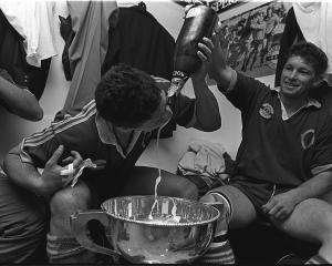 Paul Cooke (left) and John Haggart celebrate Otago's 1991 NPC win. Photo: ODT files