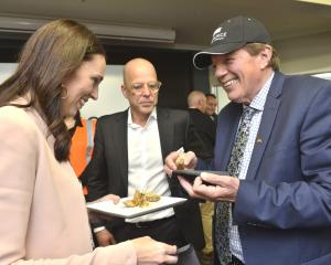 Prime Minister Jacinda Ardern, Nigel Jones (centre), from Alliance, and Invercargill Mayor Tim...