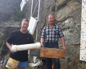 Former Alexandra Jaycees members Ewan Richmond (left) and Murray Anderson display a time capsule...