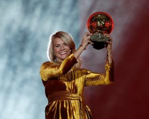 Olympique Lyonnais' Ada Hegerberg with the Women's Ballon d'Or award. Photo: Reuters