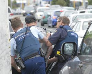 Police arrest a man after he evaded police at a check point in Dunedin this afternoon. Photo:...