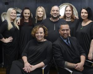 Ria and Sonna Reihana (front) with the Aurum Hairstylists team (from left) Bonna Martin,...