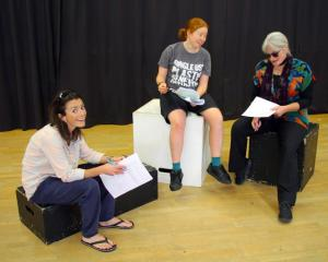 Becky Plunkett, Jennie Salter and Gilly Pugh run through the script. Photos: Supplied