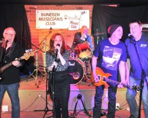 Dunedin Musicians' Club members Alan McKay,  Kay Chirnside, Jack Allpress, Graham Dooley and...