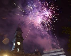 The new year was celebrated with a fireworks display in the Octagon in Dunedin. Photo Peter McIntosh