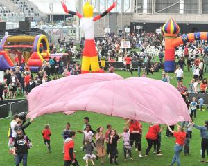 Youngsters enjoy themselves at  Forsyth Barr Stadium on Saturday. Photos: Christine O'Connor