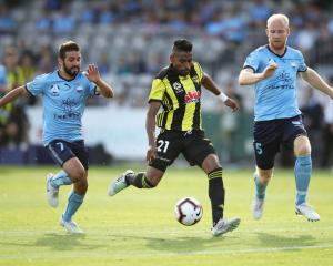 Roy Krishna of the Phoenix about to unleash a shot at goal against Sydney FC. Photo: Getty